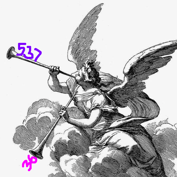 engraving an angel with 2 horns, blowing the numbers 537 and 36