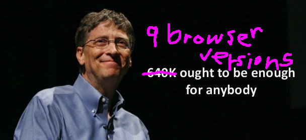 picture of bill gates saying 9 browser version should be enough for anybody