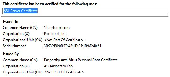 screenshot of facebook.com cert