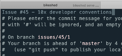 screenshot of a git commit prompt which also shows the branch name by default